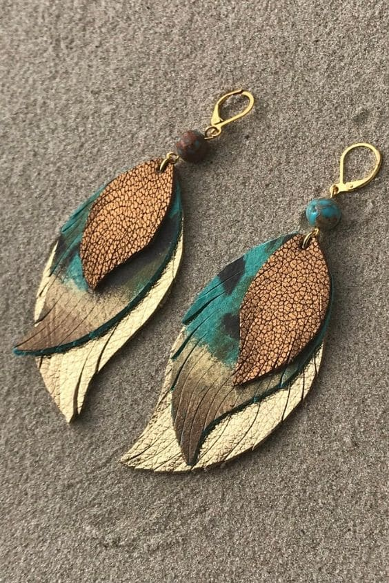 Leather Earrings Gold