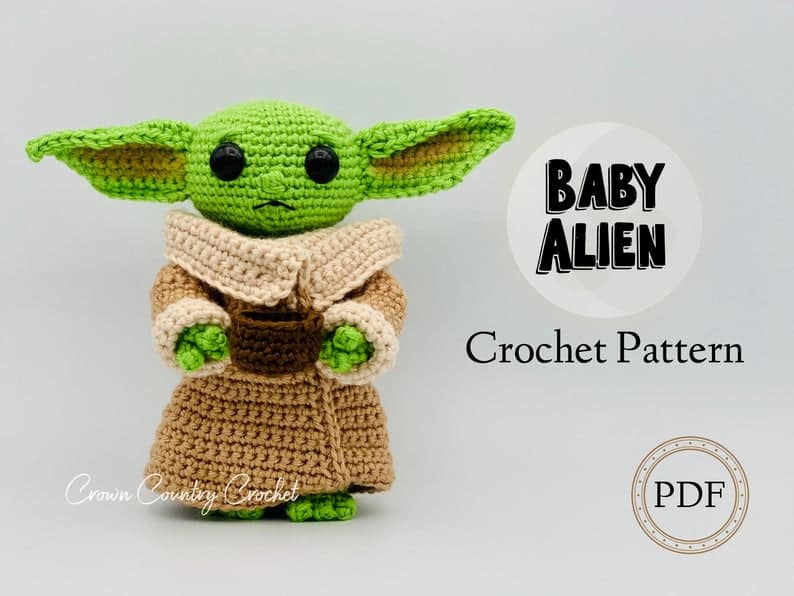 Find 11 Amazing Baby Yoda Crochet Patterns. From miniture to cuddlytoy, christmas decorations to hats.