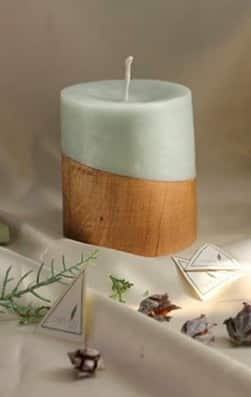 Wood combined with candles